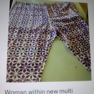 Woman within new multi color(white/red/blue)capri